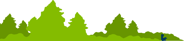 artistic two-tone color treescape, with child reading, for the left side of the footer