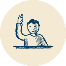 icon of a student at a desk raising their hand